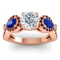 Three Stone Pave Varsa Diamond Ring with Blue Sapphire and Garnet in 14K Rose Gold
