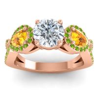 Three Stone Pave Varsa Diamond Ring with Citrine and Peridot in 14K Rose Gold