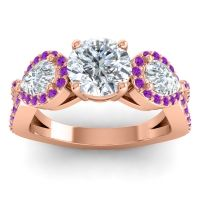 Three Stone Pave Varsa Diamond Ring with Amethyst in 14K Rose Gold