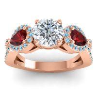 Three Stone Pave Varsa Diamond Ring with Garnet and Aquamarine in 18K Rose Gold