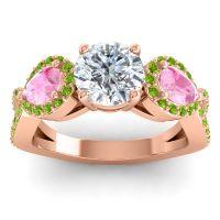 Three Stone Pave Varsa Diamond Ring with Pink Tourmaline and Peridot in 18K Rose Gold