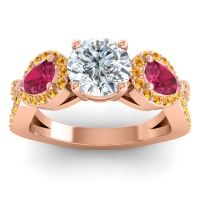 Three Stone Pave Varsa Diamond Ring with Ruby and Citrine in 18K Rose Gold