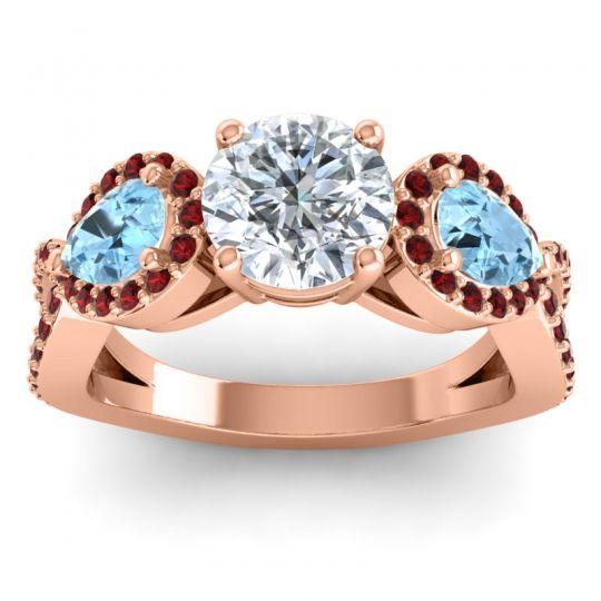 Three Stone Pave Varsa Diamond Ring with Aquamarine and Garnet in 14K Rose Gold