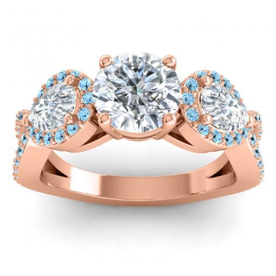 Three Stone Pave Varsa Diamond Ring with Aquamarine in 14K Rose Gold