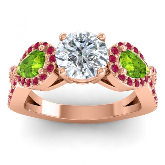 Three Stone Pave Varsa Diamond Ring with Peridot and Ruby in 18K Rose Gold