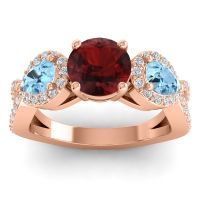 Three Stone Pave Varsa Garnet Ring with Aquamarine and Diamond in 14K Rose Gold