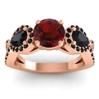 Garnet Three Stone Pave Varsa Ring with Black Onyx in 14K Rose Gold