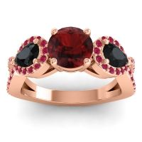 Three Stone Pave Varsa Garnet Ring with Black Onyx and Ruby in 14K Rose Gold
