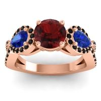 Three Stone Pave Varsa Garnet Ring with Blue Sapphire and Black Onyx in 18K Rose Gold