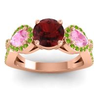 Three Stone Pave Varsa Garnet Ring with Pink Tourmaline and Peridot in 14K Rose Gold