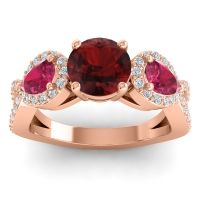 Three Stone Pave Varsa Garnet Ring with Ruby and Diamond in 14K Rose Gold