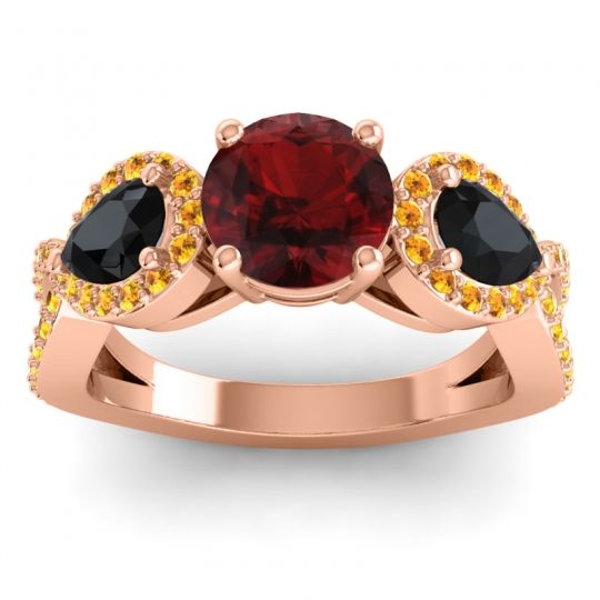 Three Stone Pave Varsa Garnet Ring with Black Onyx and Citrine in 14K Rose Gold