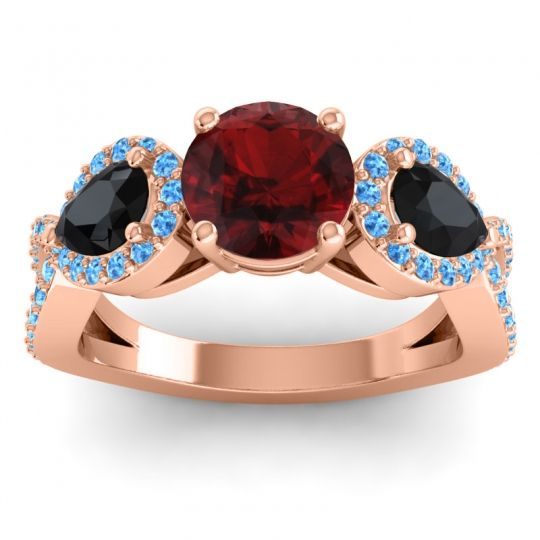 Garnet Three Stone Pave Varsa Ring with Black Onyx and Swiss Blue Topaz in 14K Rose Gold