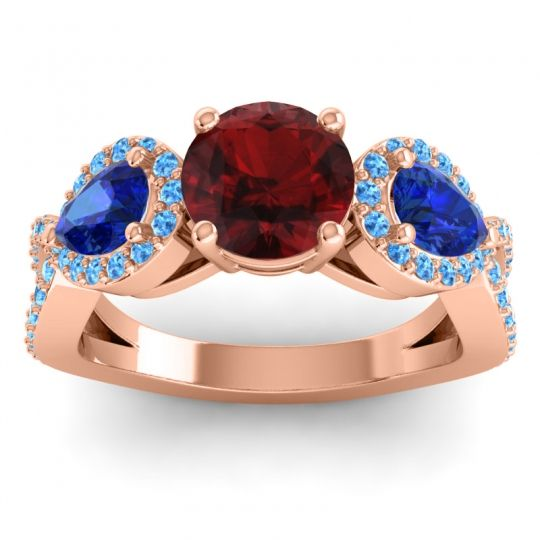 Three Stone Pave Varsa Garnet Ring with Blue Sapphire and Swiss Blue Topaz in 18K Rose Gold