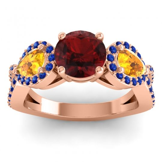Garnet Three Stone Pave Varsa Ring with Citrine and Blue Sapphire in 18K Rose Gold