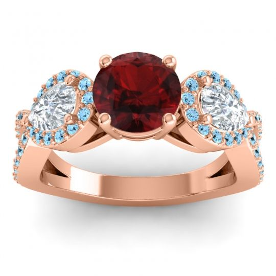 Three Stone Pave Varsa Garnet Ring with Diamond and Aquamarine in 18K Rose Gold