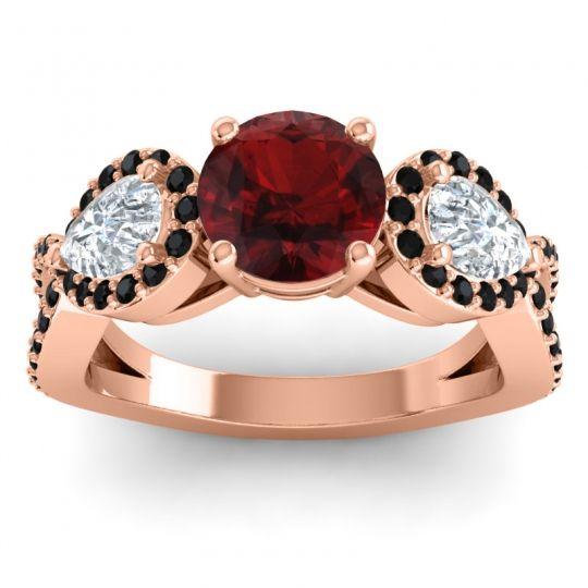 Garnet Three Stone Pave Varsa Ring with Diamond and Black Onyx in 14K Rose Gold
