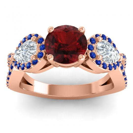 Garnet Three Stone Pave Varsa Ring with Diamond and Blue Sapphire in 18K Rose Gold