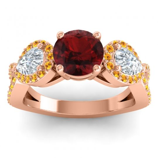 Garnet Three Stone Pave Varsa Ring with Diamond and Citrine in 14K Rose Gold