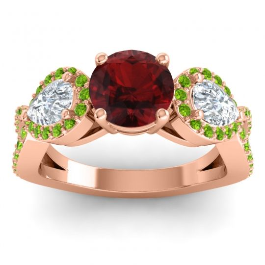 Garnet Three Stone Pave Varsa Ring with Diamond and Peridot in 14K Rose Gold