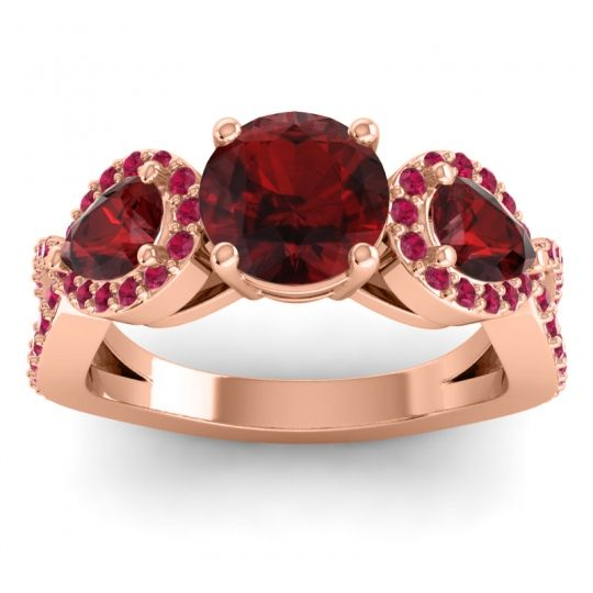 Garnet Three Stone Pave Varsa Ring with Ruby in 14K Rose Gold