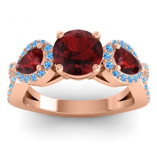 Garnet Three Stone Pave Varsa Ring with Swiss Blue Topaz in 18K Rose Gold