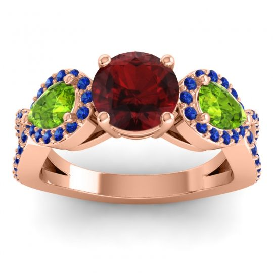 Garnet Three Stone Pave Varsa Ring with Peridot and Blue Sapphire in 14K Rose Gold