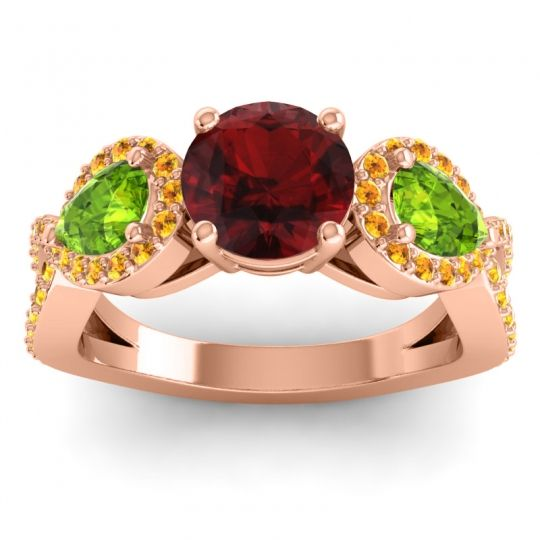 Garnet Three Stone Pave Varsa Ring with Peridot and Citrine in 14K Rose Gold