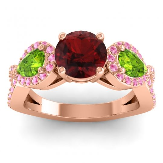 Garnet Three Stone Pave Varsa Ring with Peridot and Pink Tourmaline in 14K Rose Gold