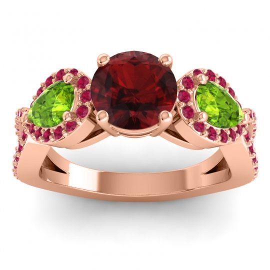 Garnet Three Stone Pave Varsa Ring with Peridot and Ruby in 18K Rose Gold