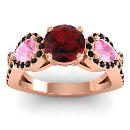 Garnet Three Stone Pave Varsa Ring with Pink Tourmaline and Black Onyx in 14K Rose Gold