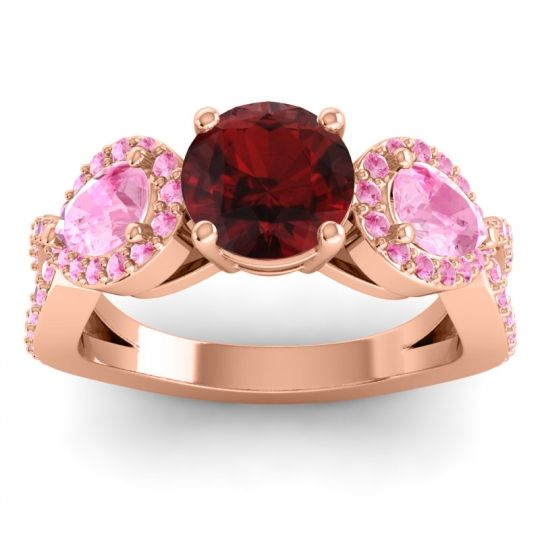 Garnet Three Stone Pave Varsa Ring with Pink Tourmaline in 14K Rose Gold