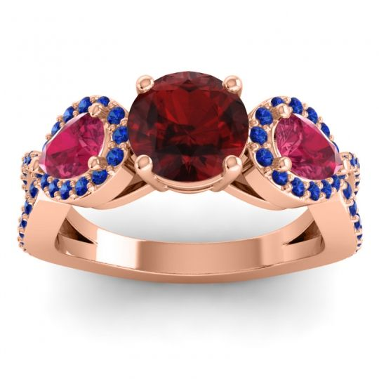 Three Stone Pave Varsa Garnet Ring with Ruby and Blue Sapphire in 14K Rose Gold