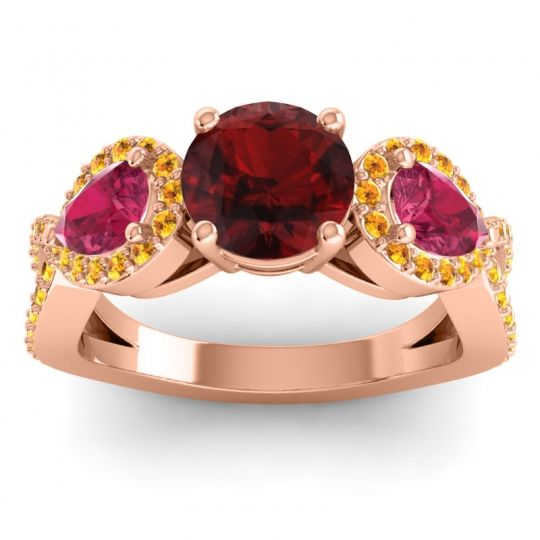 Garnet Three Stone Pave Varsa Ring with Ruby and Citrine in 14K Rose Gold