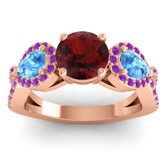Garnet Three Stone Pave Varsa Ring with Swiss Blue Topaz and Amethyst in 18K Rose Gold