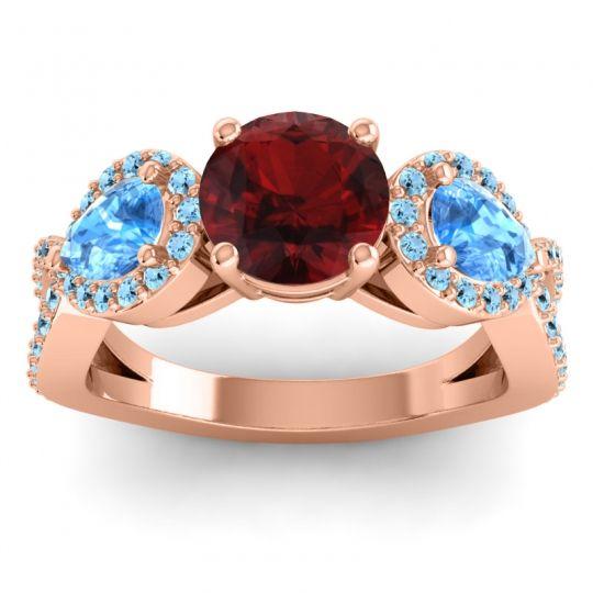 Garnet Three Stone Pave Varsa Ring with Swiss Blue Topaz and Aquamarine in 18K Rose Gold