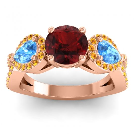 Garnet Three Stone Pave Varsa Ring with Swiss Blue Topaz and Citrine in 18K Rose Gold
