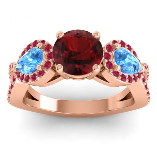 Garnet Three Stone Pave Varsa Ring with Swiss Blue Topaz and Ruby in 18K Rose Gold