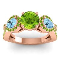Three Stone Pave Varsa Peridot Ring with Aquamarine in 18K Rose Gold