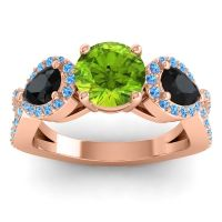 Three Stone Pave Varsa Peridot Ring with Black Onyx and Swiss Blue Topaz in 18K Rose Gold