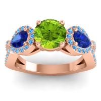 Three Stone Pave Varsa Peridot Ring with Blue Sapphire and Swiss Blue Topaz in 14K Rose Gold