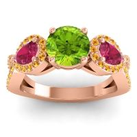 Three Stone Pave Varsa Peridot Ring with Ruby and Citrine in 18K Rose Gold