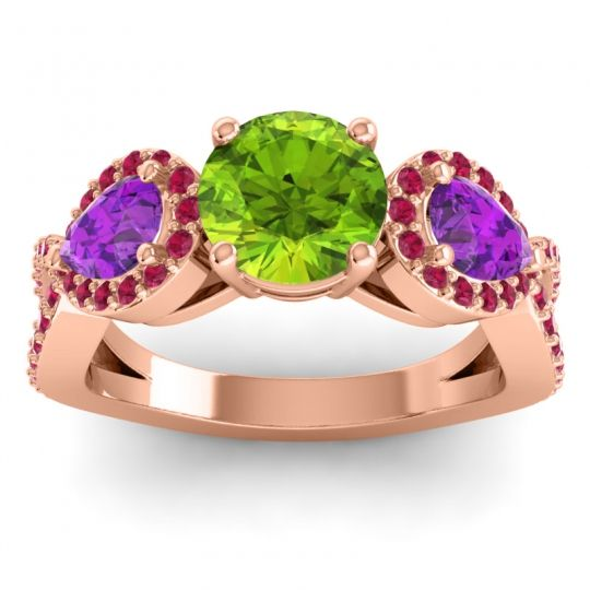 Peridot Three Stone Pave Varsa Ring with Amethyst and Ruby in 14K Rose Gold