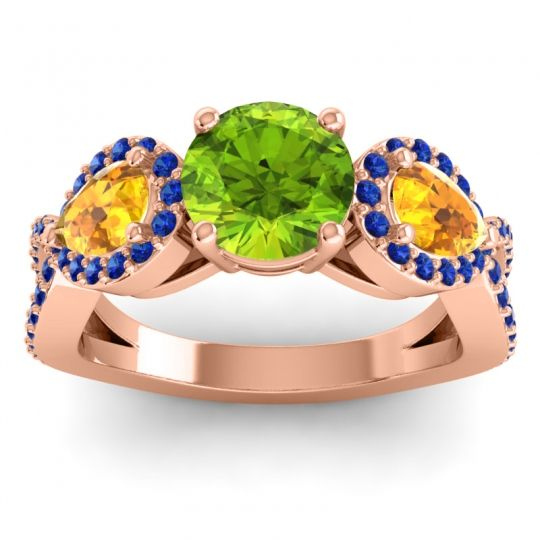 Three Stone Pave Varsa Peridot Ring with Citrine and Blue Sapphire in 18K Rose Gold