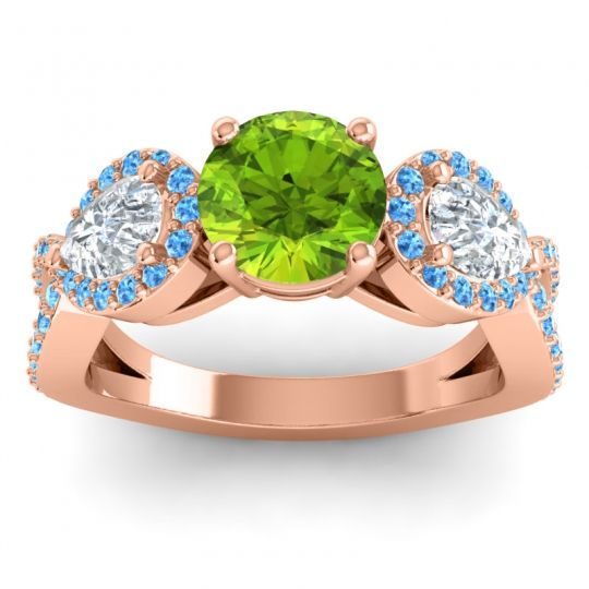 Three Stone Pave Varsa Peridot Ring with Diamond and Swiss Blue Topaz in 14K Rose Gold