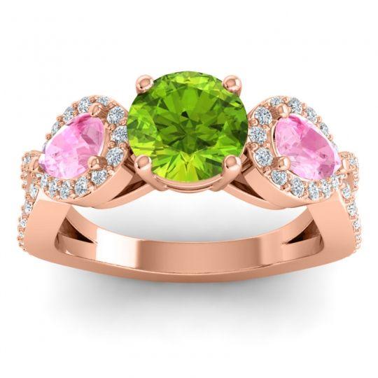 Three Stone Pave Varsa Peridot Ring with Pink Tourmaline and Diamond in 18K Rose Gold