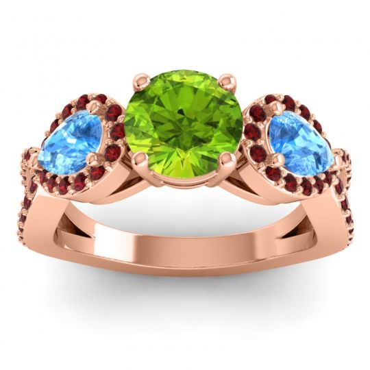 Three Stone Pave Varsa Peridot Ring with Swiss Blue Topaz and Garnet in 18K Rose Gold