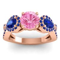 Three Stone Pave Varsa Pink Tourmaline Ring with Blue Sapphire in 18K Rose Gold