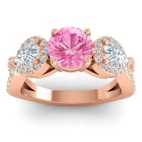 Three Stone Pave Varsa Pink Tourmaline Ring with Diamond in 14K Rose Gold