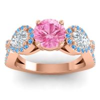 Three Stone Pave Varsa Pink Tourmaline Ring with Diamond and Swiss Blue Topaz in 14K Rose Gold